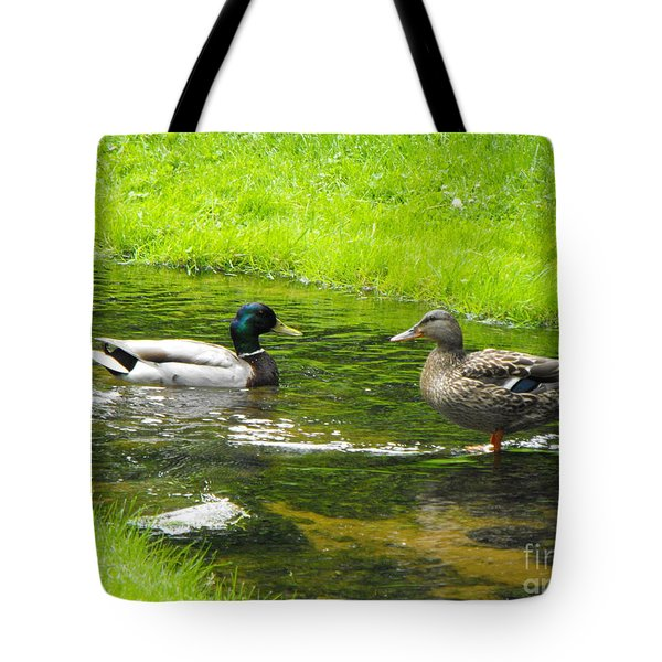 Duck Couple Tote Bag