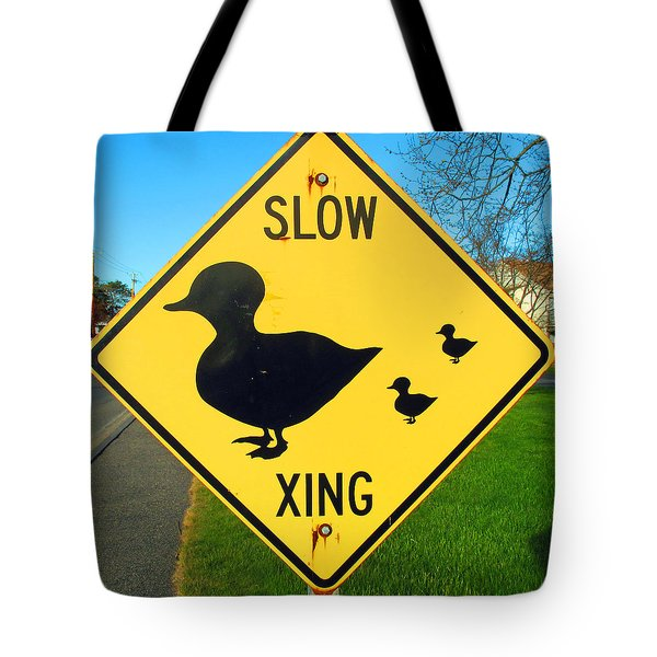 Duck Crossing Sign Tote Bag by Barbara McDevitt