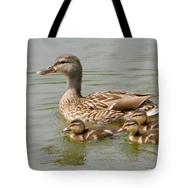 Tote Bag featuring the photograph Duck Family by Bob and Jan Shriner