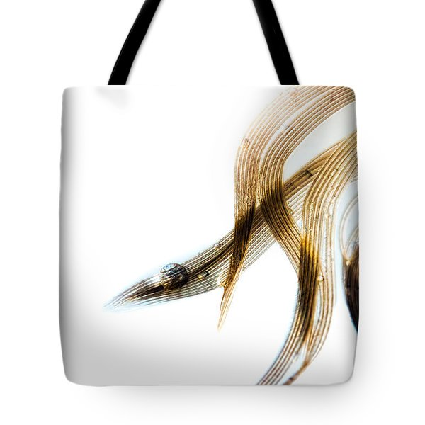 Duck Feather And Water Drops Tote Bag by Bob Orsillo