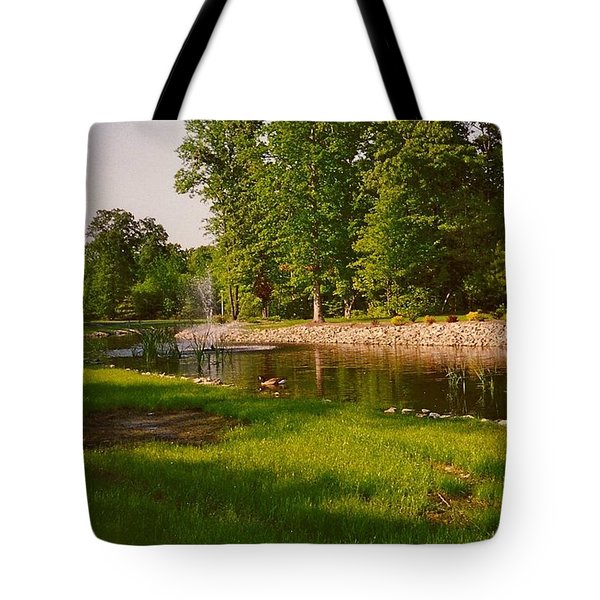 Duck Pond With Water Fountain Tote Bag by Amazing Photographs AKA Christian Wilson