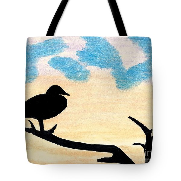 Tote Bag featuring the drawing Duck Sunset by D Hackett