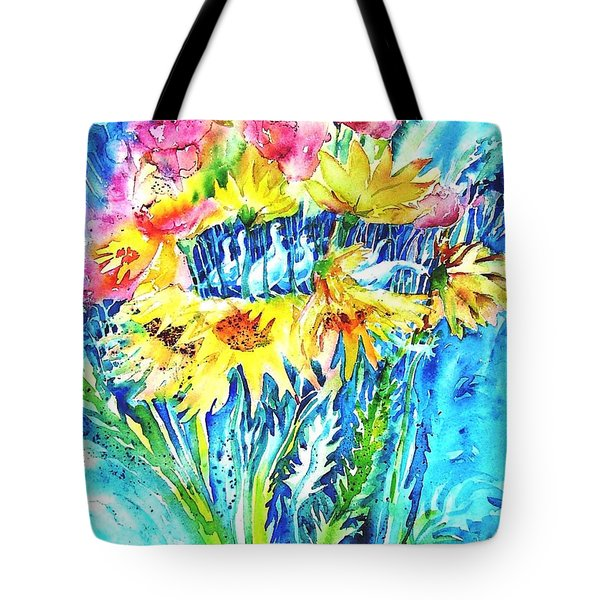 Tote Bag featuring the painting Ducks And Sunflowers  by Trudi Doyle