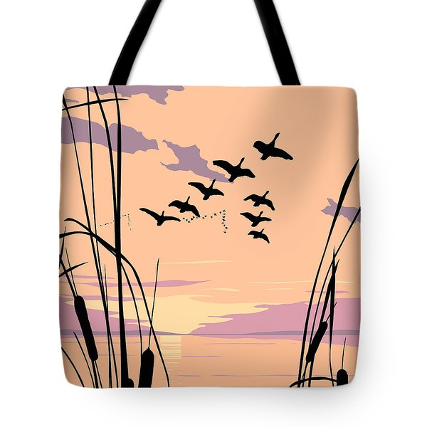 Ducks Flying Over The Lake Abstract Sunset - Square Format Tote Bag