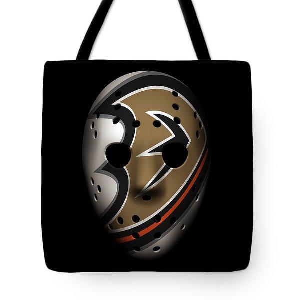 Ducks Goalie Mask Tote Bag