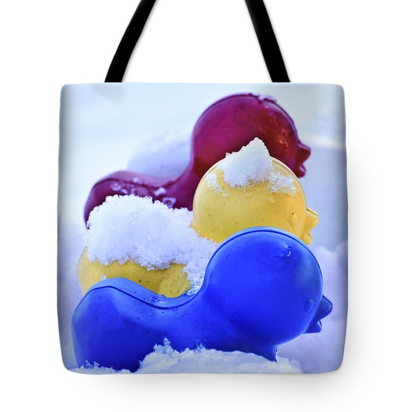 Ducks In A Row Tote Bag by Christi Kraft