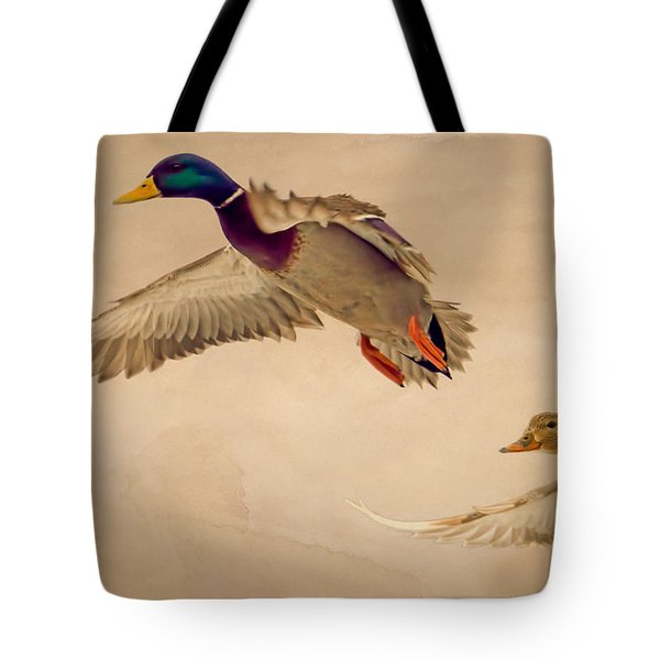 Ducks In Flight Tote Bag by Bob Orsillo