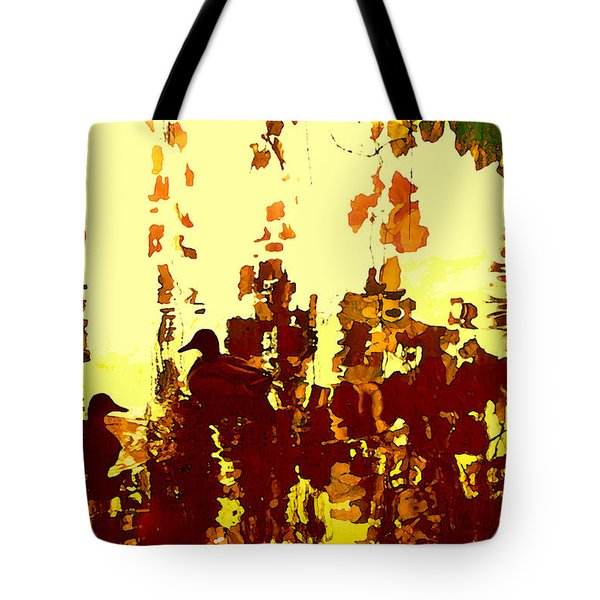 Ducks On Red Lake 2 Tote Bag by Amy Vangsgard