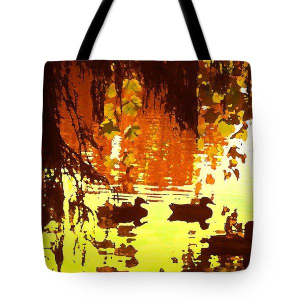 Ducks On Red Lake Tote Bag
