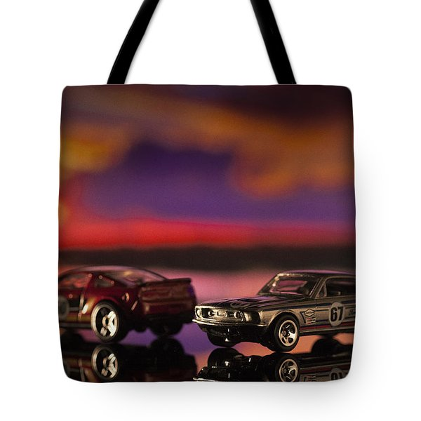 Dueling Mustangs Tote Bag by Bradley R Youngberg