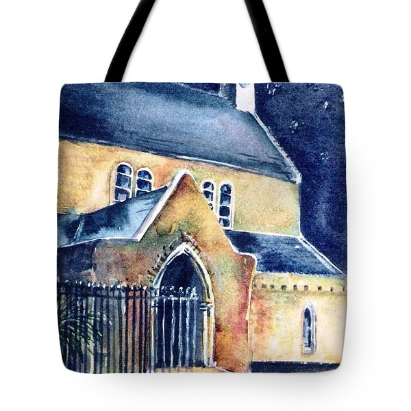 Tote Bag featuring the painting Duiske Abbey Ireland    by Trudi Doyle