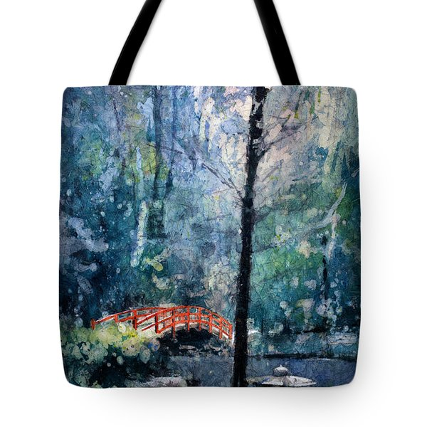 Duke Gardens Watercolor Batik Tote Bag by Ryan Fox