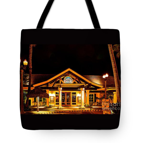 Duke's Restaurant Front - Huntington Beach Tote Bag by Jim Carrell