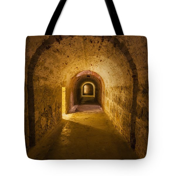 Tote Bag featuring the photograph Dungeon At Castillo San Cristobal In Old San Juan Puerto Rico by Bryan Mullennix