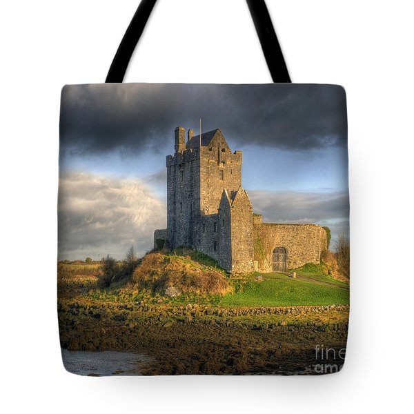 Dunguaire Castle With Dramatic Sky Kinvara Galway Ireland Tote Bag by Juli Scalzi