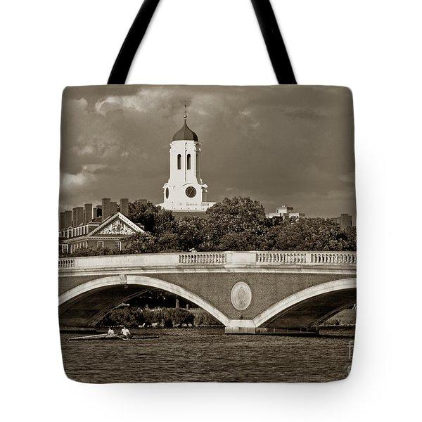 Weeks Bridge Charles River Bw Tote Bag by Tom Wurl