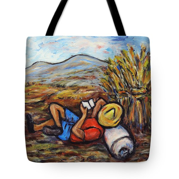 Tote Bag featuring the painting During The Break by Xueling Zou