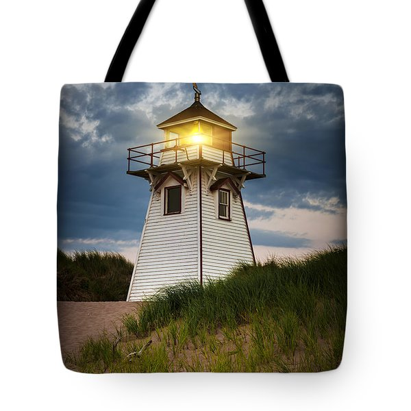 Dusk At Covehead Harbour Lighthouse Tote Bag