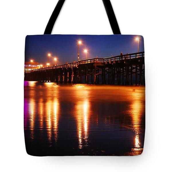 Dusk At Newport Pier Tote Bag by James Kirkikis