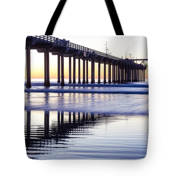 Dusk At Scripps Pier Tote Bag