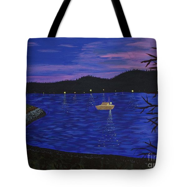 Dusk On Puget Sound Tote Bag by Vicki Maheu