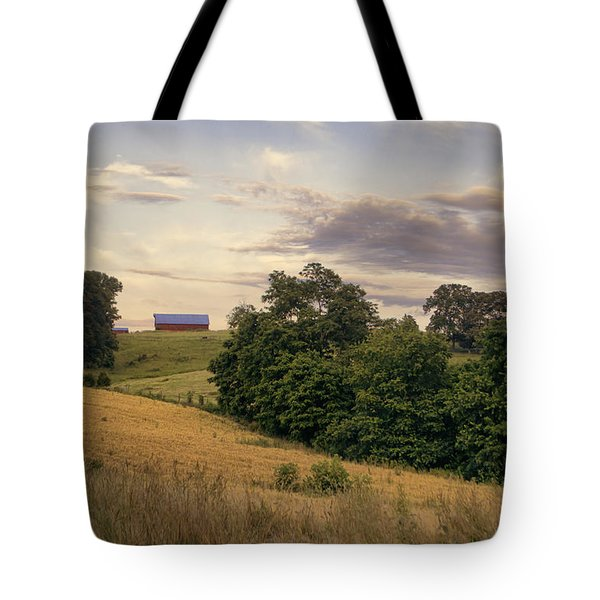 Dusk On The Farm Tote Bag by Heather Applegate
