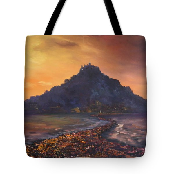 Tote Bag featuring the painting Dusk Over St Michaels Mount Cornwall by Jean Walker