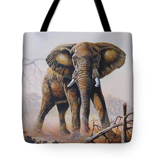 Tote Bag featuring the painting Dusty Jumbo by Anthony Mwangi