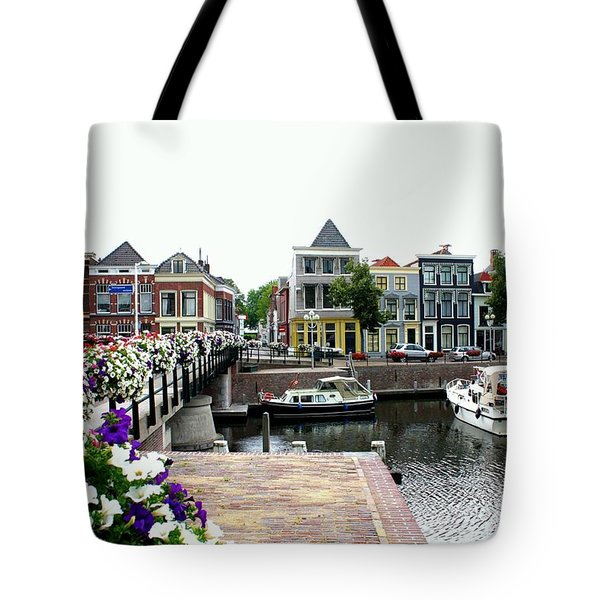 Dutch Cityscape With Boats Tote Bag by Carol Groenen
