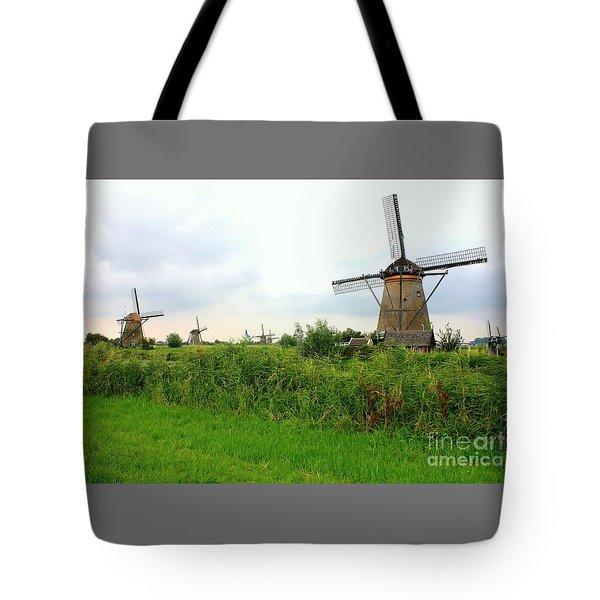 Dutch Landscape With Windmills Tote Bag by Carol Groenen