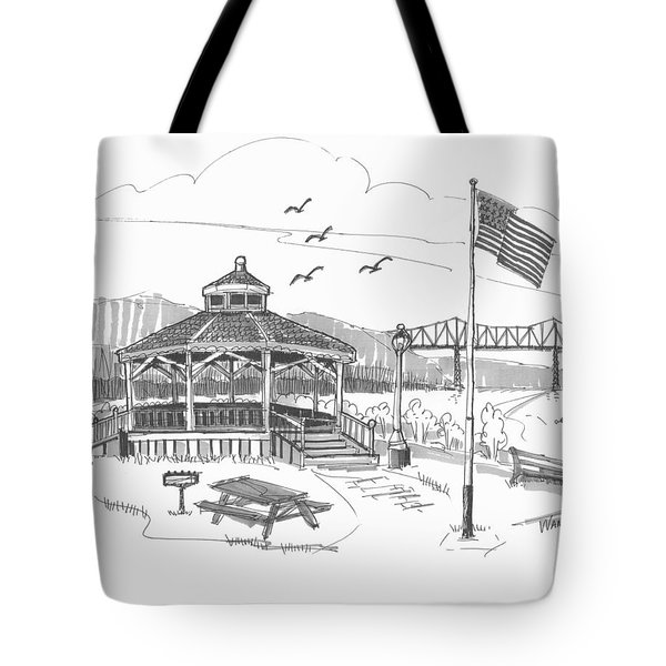 Tote Bag featuring the drawing Dutchmen's Landing Catskill by Richard Wambach