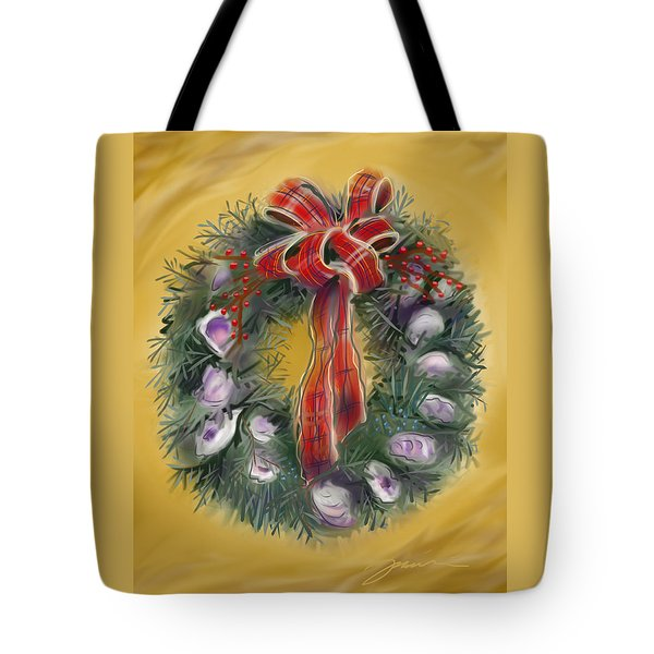 Tote Bag featuring the painting Duxbury Oyster Wreath by Jean Pacheco Ravinski