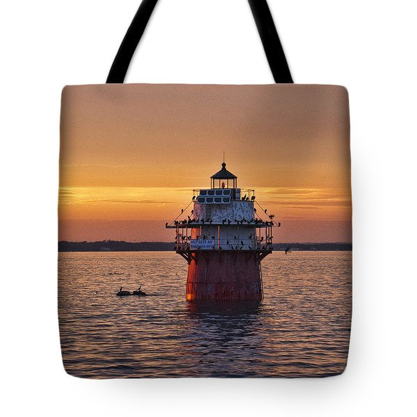 Duxbury Pier Light At Sunset Tote Bag