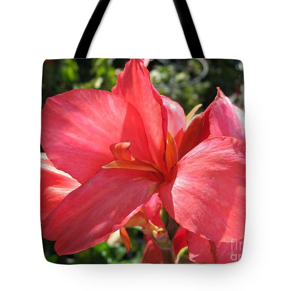 Tote Bag featuring the photograph Dwarf Canna Lily Named Shining Pink by J McCombie