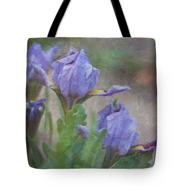 Tote Bag featuring the photograph Dwarf Iris With Texture by Patti Deters