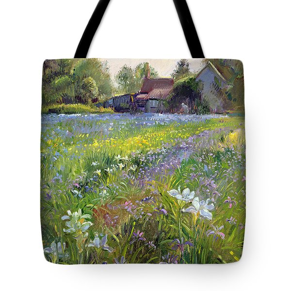 Dwarf Irises And Cottage Tote Bag