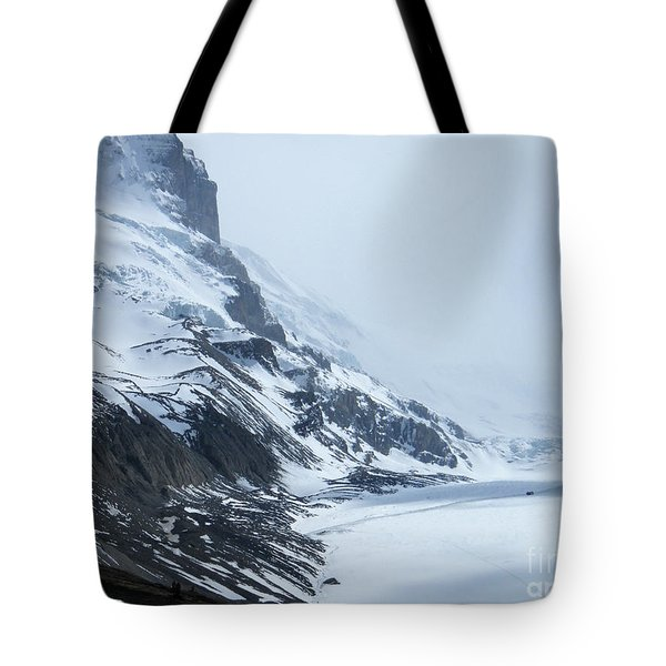 Tote Bag featuring the photograph Dwarfed By Nature  - Athabasca Glacier by Phil Banks