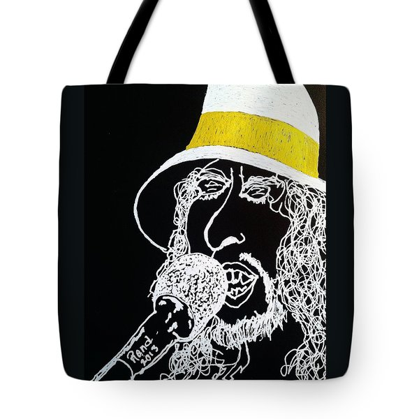 Tote Bag featuring the drawing Dylan In Concert by Rand Swift