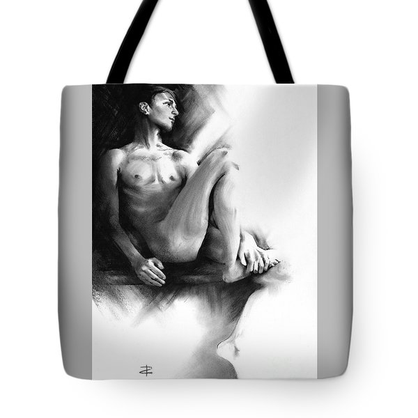 Tote Bag featuring the drawing Dylan by Paul Davenport