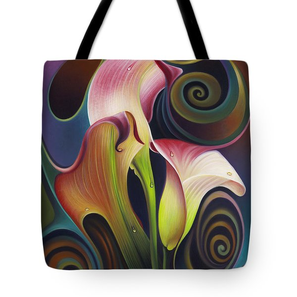 Dynamic Floral 4 Cala Lillies Tote Bag