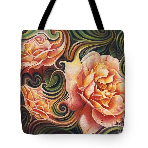 Dynamic Floral V  Roses Tote Bag