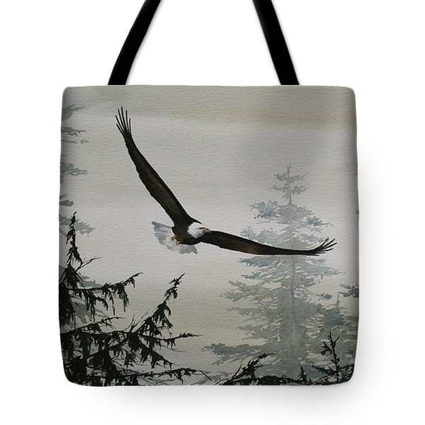 Eagle And Cedars Tote Bag by James Williamson