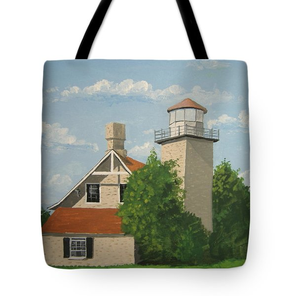 Tote Bag featuring the painting Eagle Bluff Lighthouse Wisconsin by Norm Starks