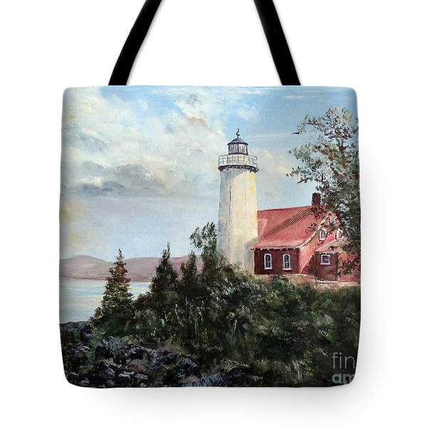Tote Bag featuring the painting Eagle Harbor Light by Lee Piper