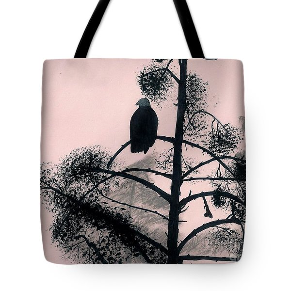 Tote Bag featuring the drawing Eagle In Pink Sky by D Hackett