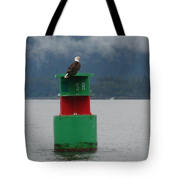 Eagle On Bouy Tote Bag