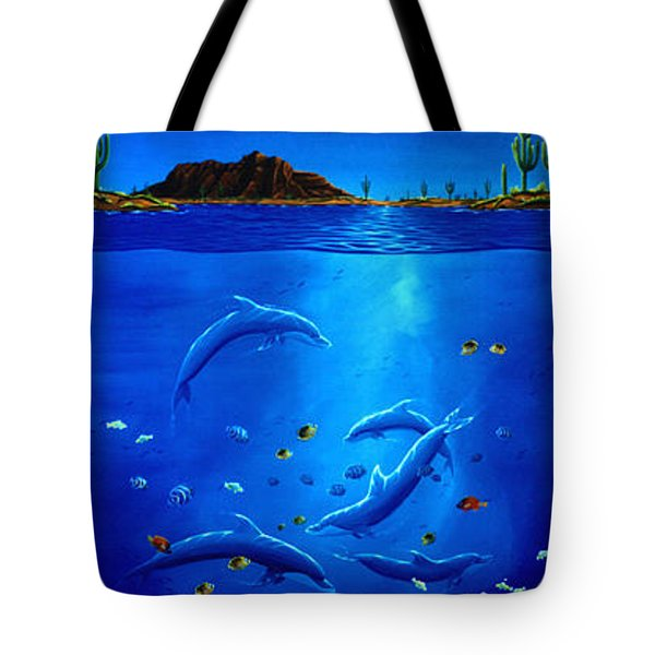 Eagle Over Dolphins Tote Bag by Lance Headlee