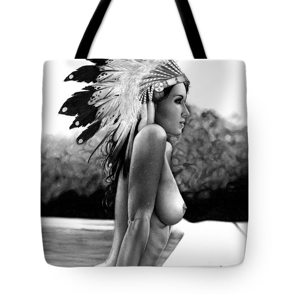 Tote Bag featuring the drawing Eagle by Pete Tapang