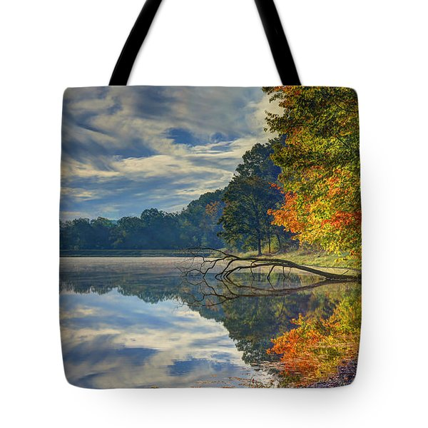 Tote Bag featuring the photograph Early Autumn At Caldwell Lake by Jaki Miller