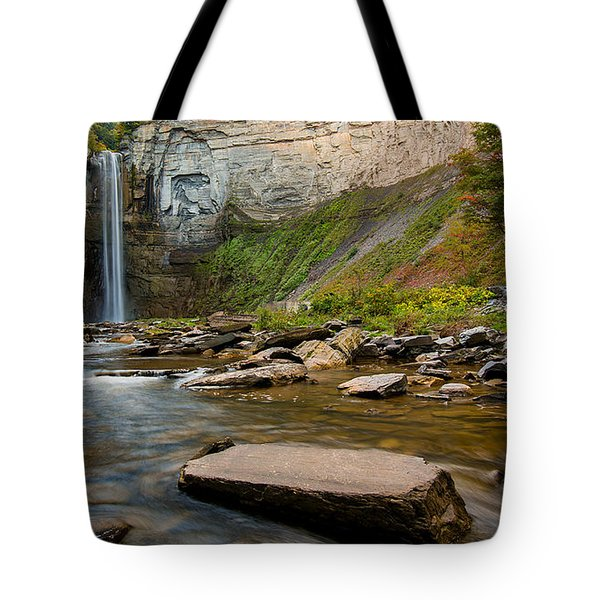 Early Autumn Morning At Taughannock Falls Tote Bag